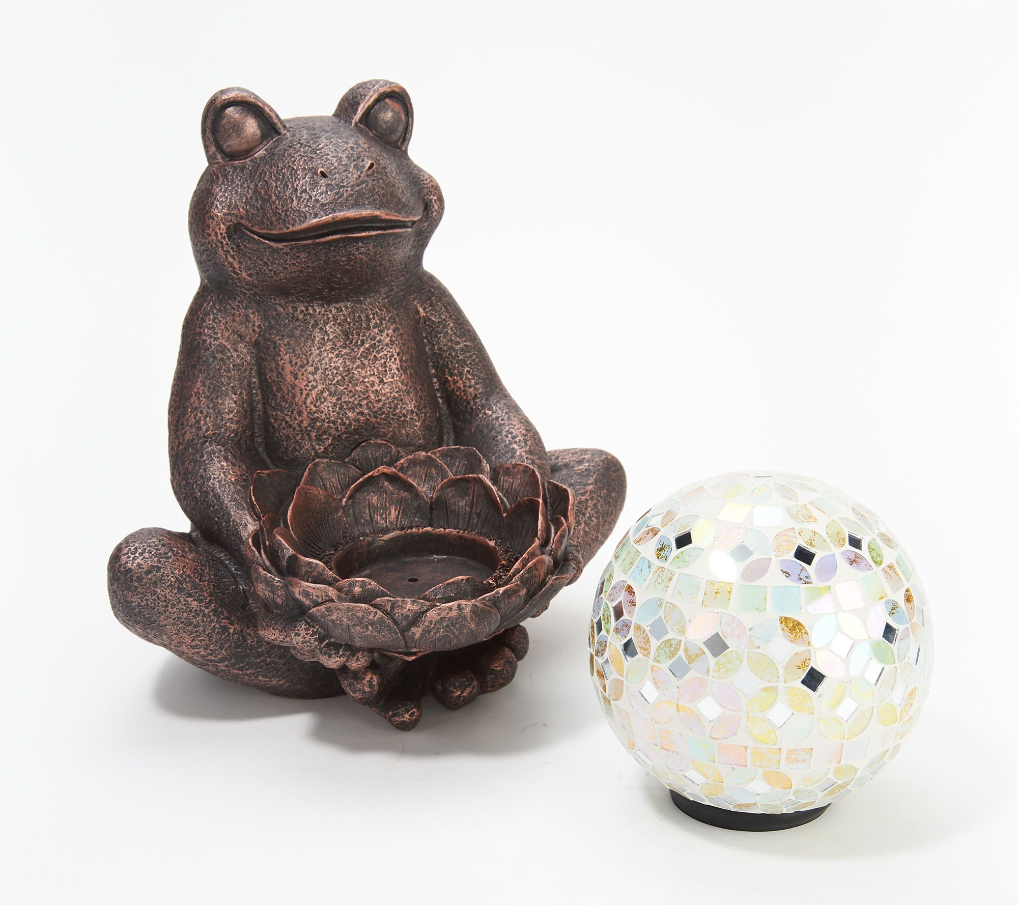 Indoor/Outdoor Frog Holding Illuminated Mosaic Sphere — QVC com