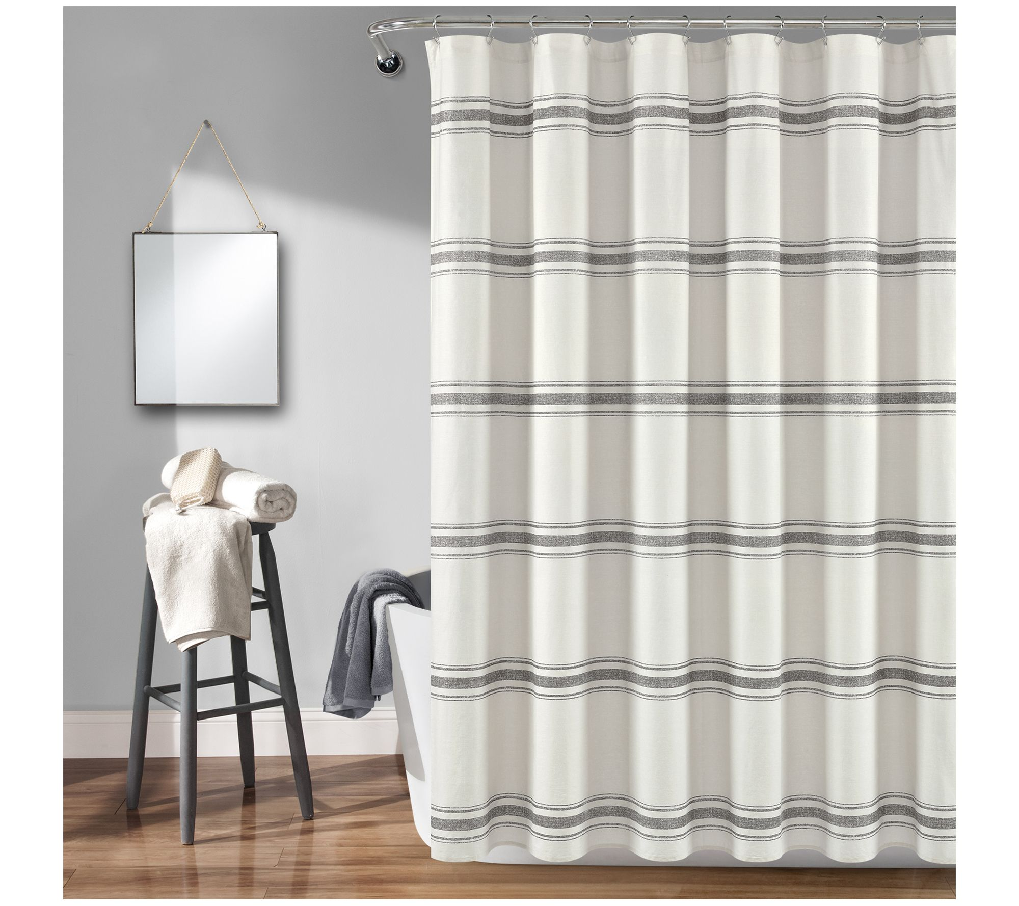 Farmhouse Stripe 72 X 72 Shower Curtain By Lush Decor Qvc Com