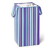 Honey-Can-Do Foldable Square Hamper/Blue PurpleStripe - H356584
