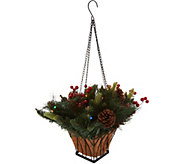 Bethlehem Lights Lit Holiday Greens Mini Hanging Basket - H212985