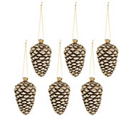 Set of (6) Antiqued Pinecone Ornaments - H216585