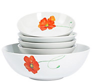 Tabletops Gallery 5-Piece Poppy Round Pasta Set - H289185
