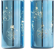 Set of (2) 8 Etched Mercury Glass Pillars w/ Microlights by Valerie - H211586