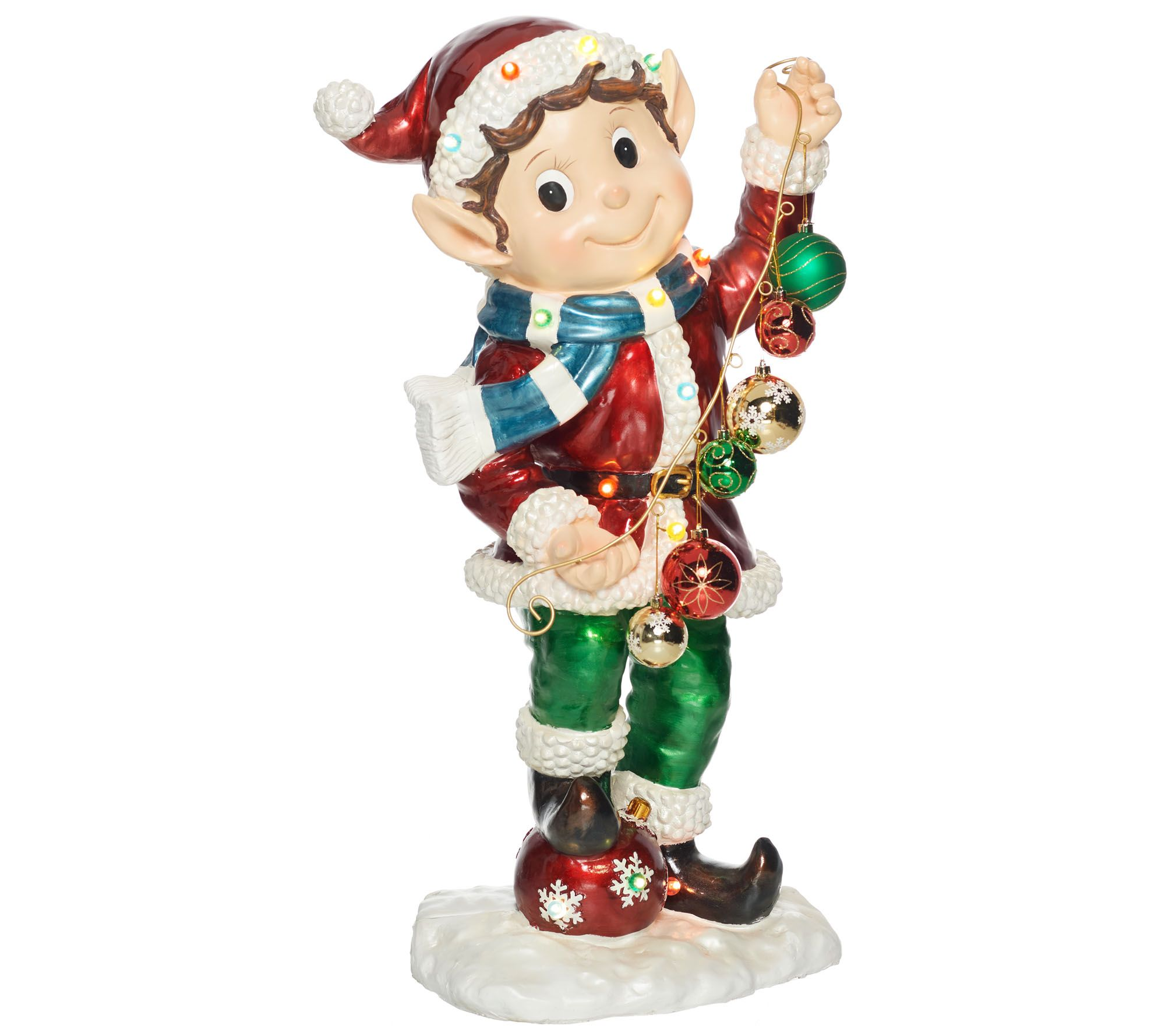 kringle express indooroutdoor 36 illuminated holiday elf with timer qvc com - Qvc Outdoor Christmas Decorations