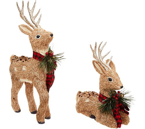 """As Is"" Set of 2 Glistening Sisal Deer withRibbon"
