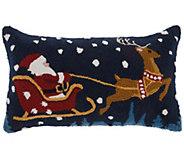 Mina Victory Santa Sleigh Multicolor 12 x 24Throw Pillow - H301686