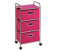 Honey-Can-Do Three-Drawer Fabric Storage Cart -Pink - H367386