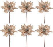 Set of 6 12 Velvet Glittered Poinsettia Picks - H209587