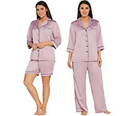 Casa Zeta-Jones 3-Piece Pajama Set w/ Piping Detail and Box - H214987