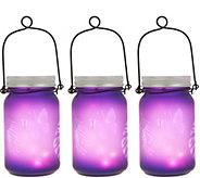 Set of 3 Illuminated Indoor/Outdoor Mason Jars by Valerie - H217788
