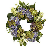 22 Purple Hydrangea Wreath by NearlyNatural - H295588