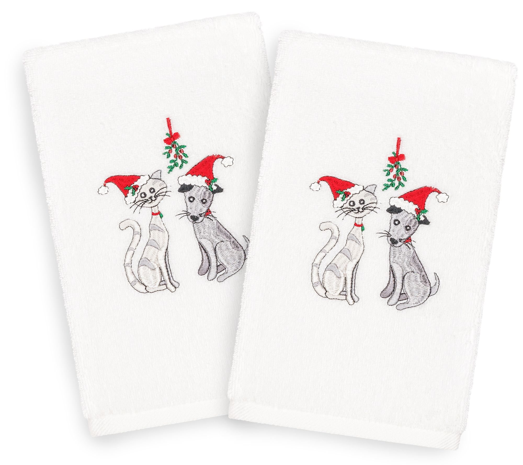 Fox Christmas Santa SET OF 2 Bathroom HAND TOWELS EMBROIDERED NEW BY LAURA