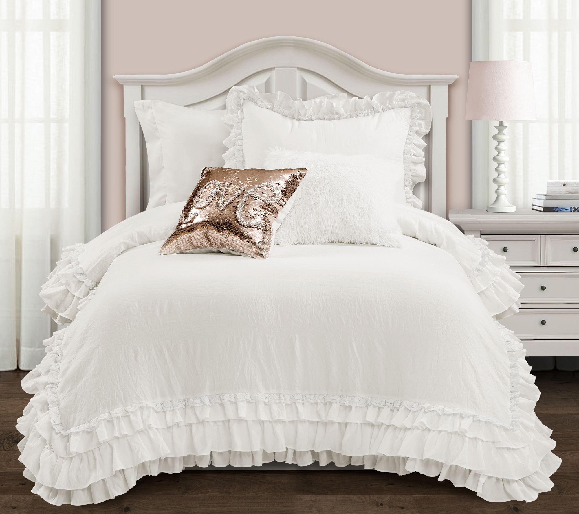 5pc Teen Girl Ruffles Layered Shabby White Ruffled Full Queen Comforter Set Comforters Bedding Sets Home Garden