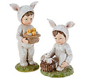 Set of (2) Glittered Spring Children Figurines by Valerie - H213789