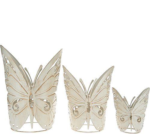 """""""As Is"""" Set of 3 Metal Butterfly Holders byValerie"""