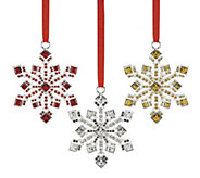 Reed & Barton Set of 3 Jewel-Accented SnowflakeOrnaments - H295090