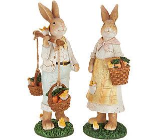 Set of (2) Bunny Figurines w/ Vintage