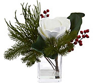 Magnolia & Berries Arrangement in Vase by Nearly Natural - H293891