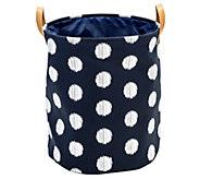 Honey-Can-Do Coastal Collection Navy and Grey Dot Laundry Bin - H295891