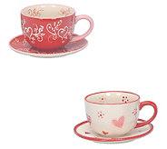Temp-tations Seasonal Set of 2 Teacups with Saucers - H309091