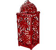 Dennis Basso 20 Pierced Lantern with Flameless Candle & Timer - H213293