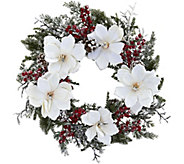 22 Snowed Magnolia & Berry Wreath by Nearly Natural - H293893