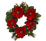 24 Red Magnolia & Pine Wreath by Nearly Natural - H300993