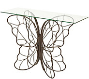Indoor/Outdoor Iron and Glass Butterfly Console Table by Valerie - H215094