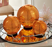 Set of 3 Lit Indoor Outdoor Mercury Glass Spheres w/Timer by Valerie - H199995