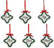 Set of 6 Inspirational Porcelain Ornaments by Valerie - H212595