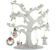 Lenox 10.5 Porcelain Tree with 8 Holiday Charms and 24K Gold Accents - H216095