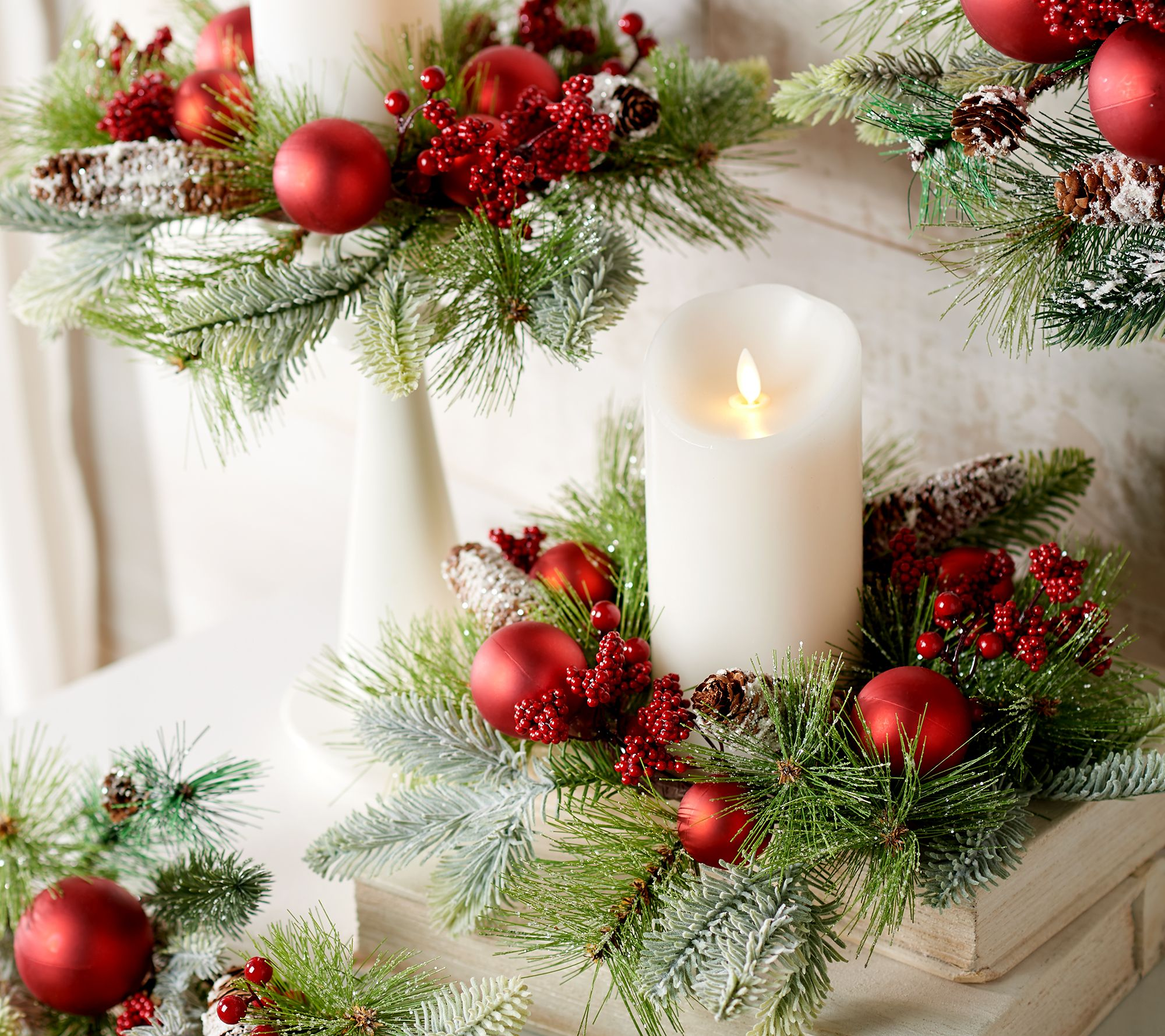 Christmas Candle Rings.Set Of 2 Frosted Pine And Ornament Candle Rings By Valerie Qvc Com