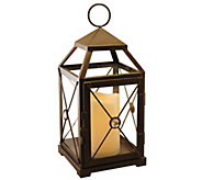 LumaBase Gem Metal Lantern with Removable Flameless Candle - H302495
