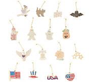 Lenox Set of 16 Seasonal Porcelain Charm Ornaments - H216096