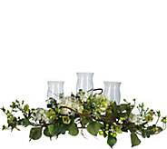 Hydrangea Triple Candleabrum Centerpiece by Nearly Natural - H295696