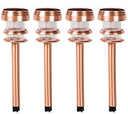 Pure Garden Copper Solar Powered LED Path Lights - Set of 4 - H302296