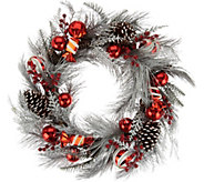 Frosted 22 Peppermint Candies and Ornament Wreath - H209597