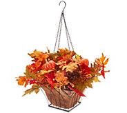 Bethlehem Lights Prelit Autumn Leaves Square Hanging Basket - H215597