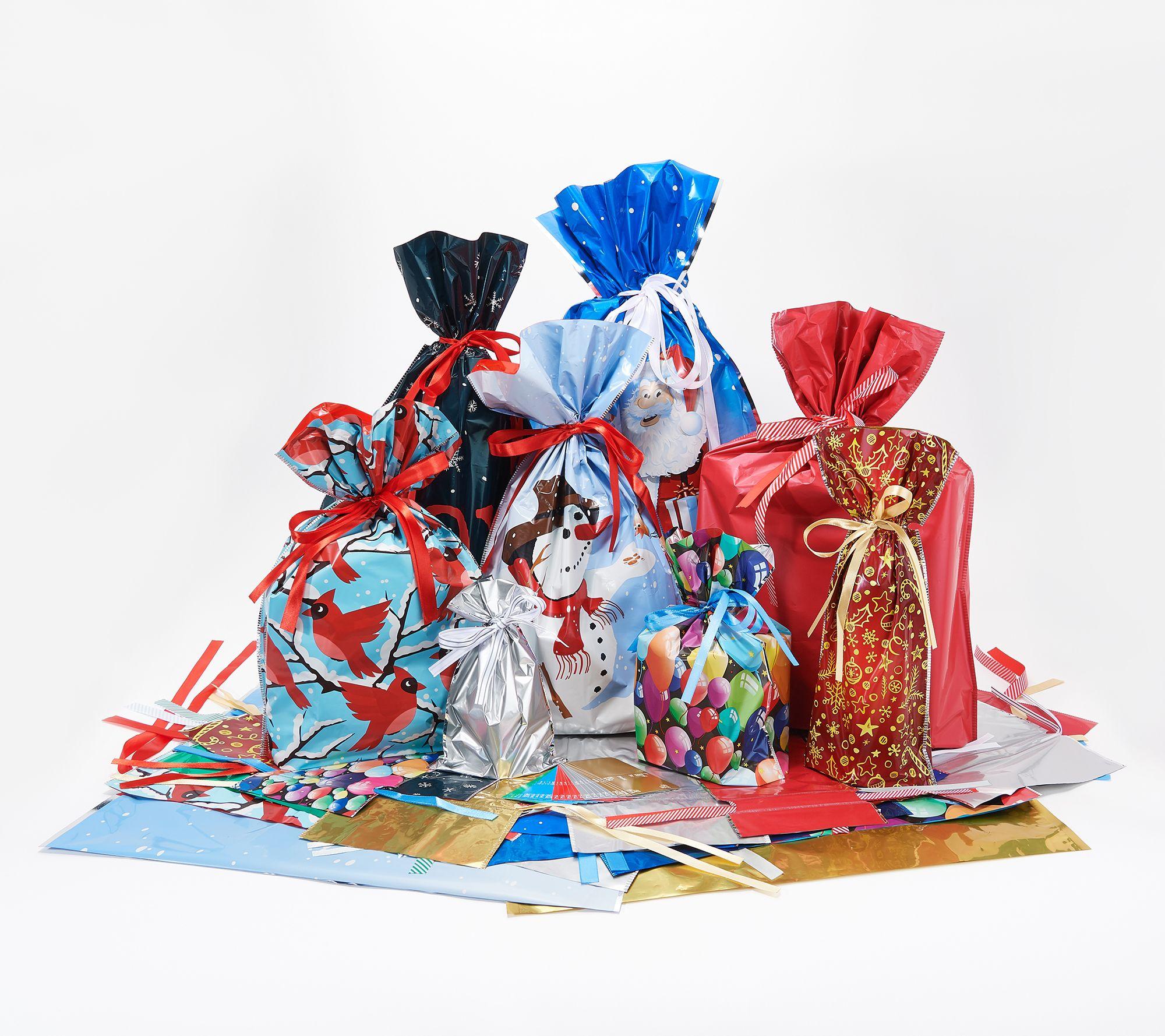 Kringle Express 60 Piece Drawstring Gift Bag And Tag Set Qvc