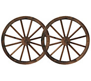 Set of 2 Brown Wooden Wagon Wheels - H373397