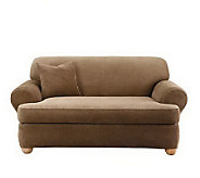 Sure Fit Stretch Stripe 2-Piece T-Cushion LoveSeat Slipcover - H180598