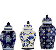Set of 3 Illuminated Porcelain Mini Urns by Valerie - H212598