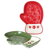 Temp-tations Floral Lace Set of 2 Mitten Platters - H295198