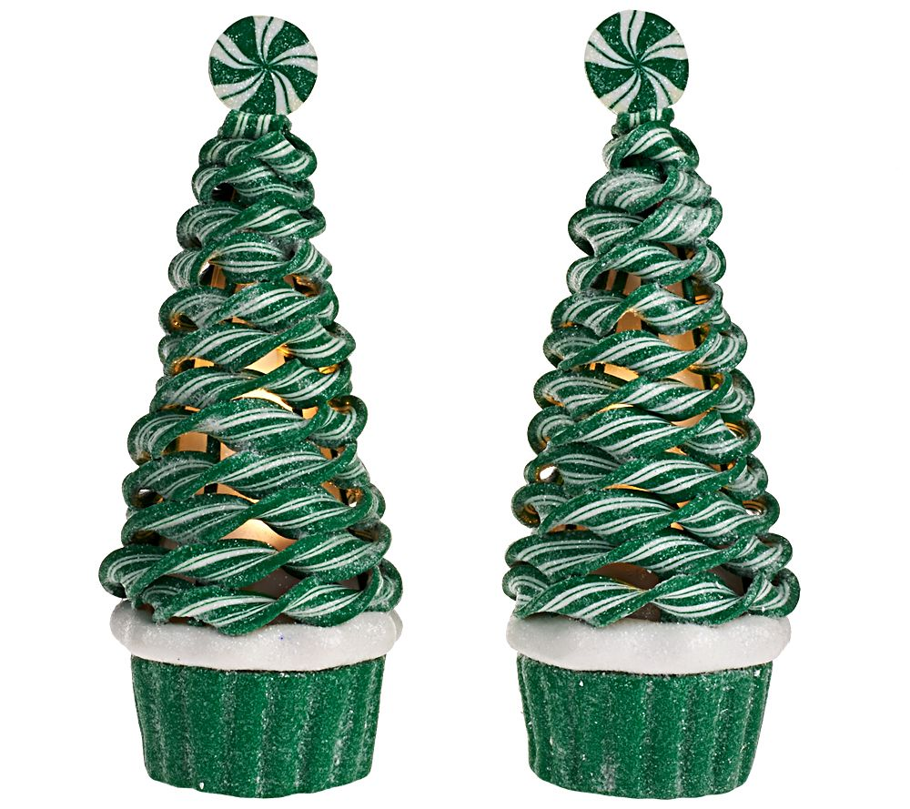 as is set of 2 illuminated peppermint cupcake trees by valerie qvccom