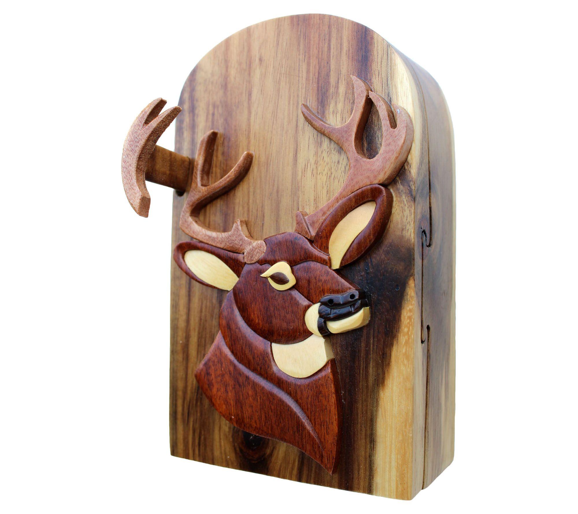 Carver Dan's Buck Puzzle Box with Magnet Closures — QVC com