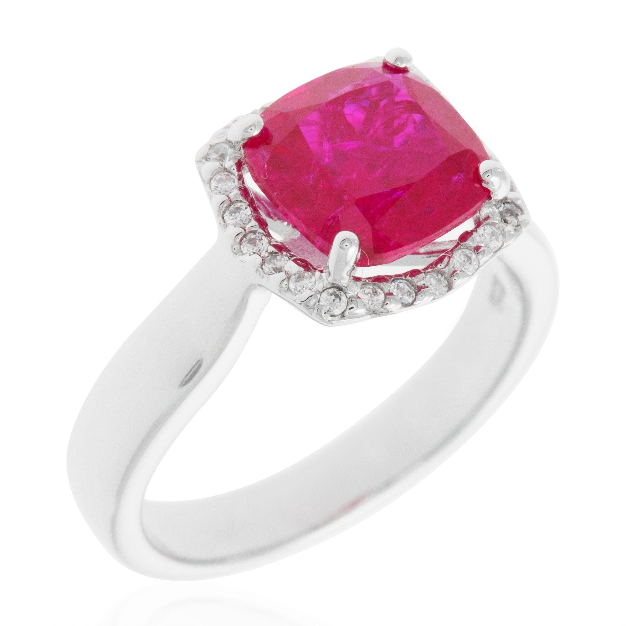 Diamonique anello pari a in argento 925 con rubino - Qvc marchi cucina ...