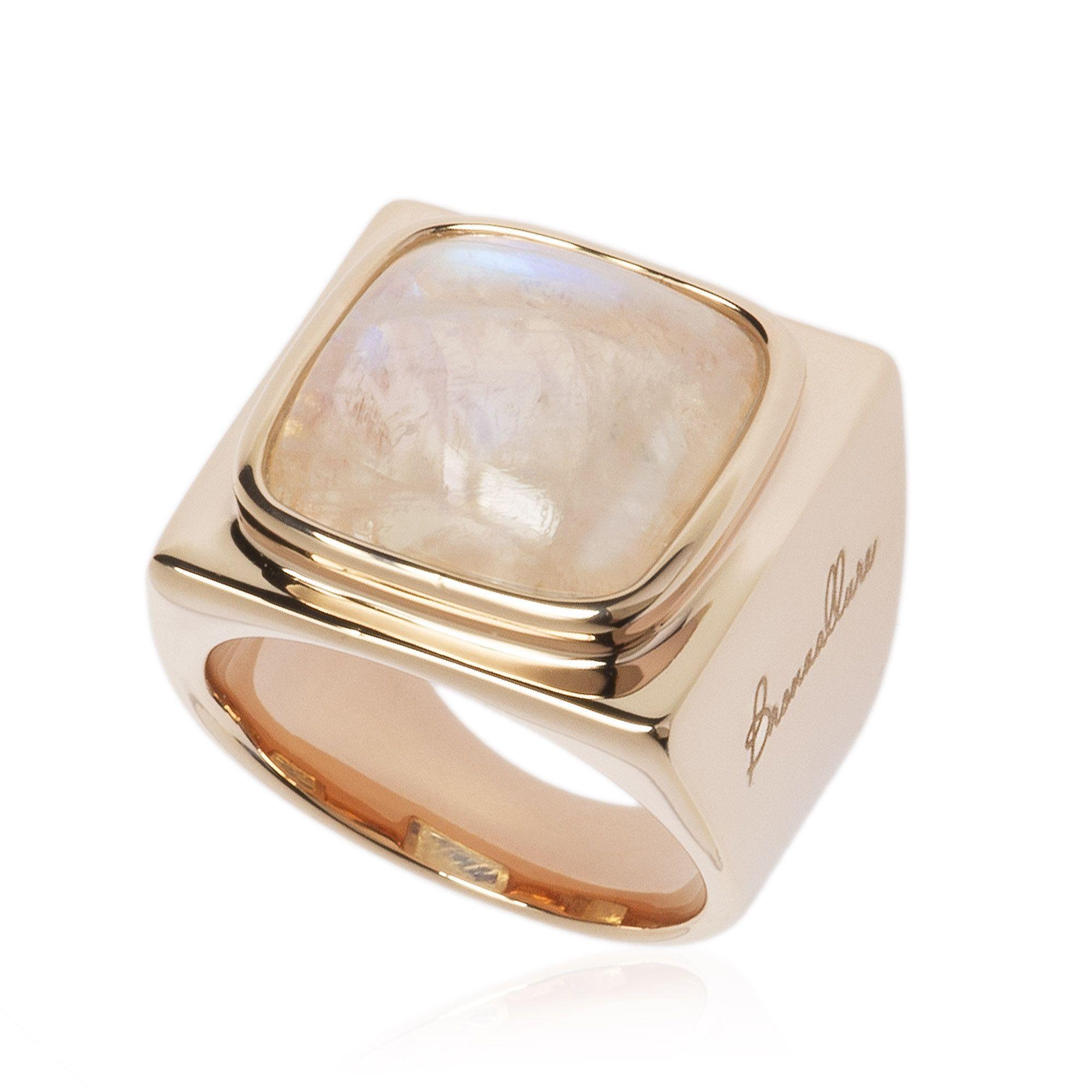 bronzallure anello in bronzo placcato oro rosa con pietra di luna qvc italia. Black Bedroom Furniture Sets. Home Design Ideas