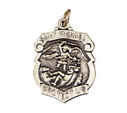 Sterling Saint Michael Police Badge Medal - J108300