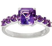 Asscher Cut & Round Gemstone Sterling Silver Ring, 1.70 cttw - J334000