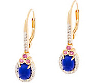 Blue Ethiopian Opal & Pink Sapphire Sterling Drop Earrings - J335800